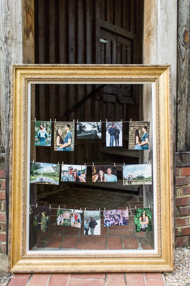 Family Photos Strung in a Gold Frame