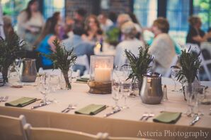 Candle and Lavender Dining Table Centerpieces
