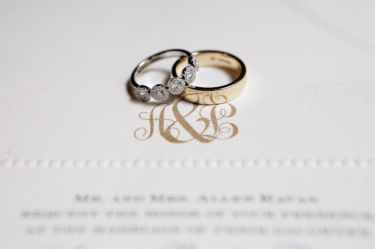 Diamond Engagement Ring and Gold Band