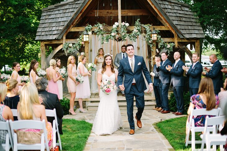 """Aja found her perfect venue, Stone Oak Ranch in Murchison, Texas, while perusing the Internet. """"I stumbled upon a Southern ranch with a glammed-out barn, beautiful lush gardens and a sweet little outdoor wooden chapel. Turns out, it was only an hour away in East Texas, which is the area Colin and I are both from."""""""