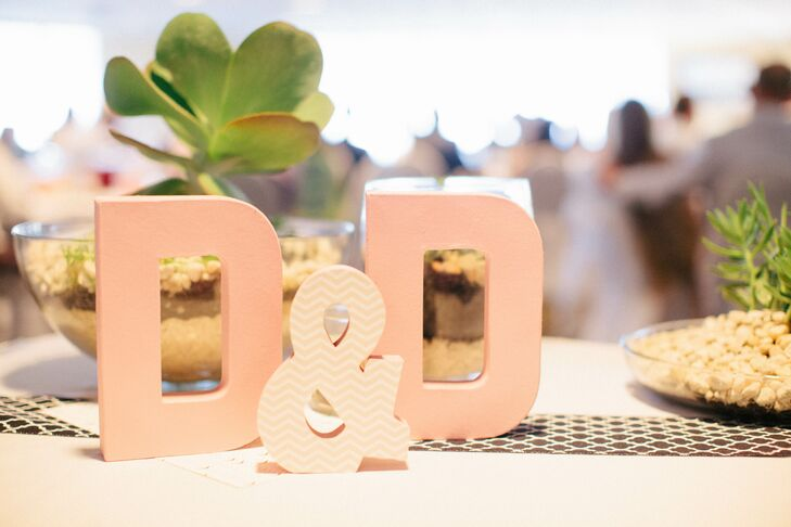 These painted letters sat at the sign-in table at the reception.