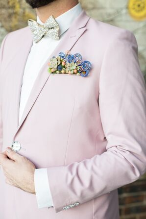 Pink Suit Jacket with Glam Bow Tie and Whimsical Pocket Square