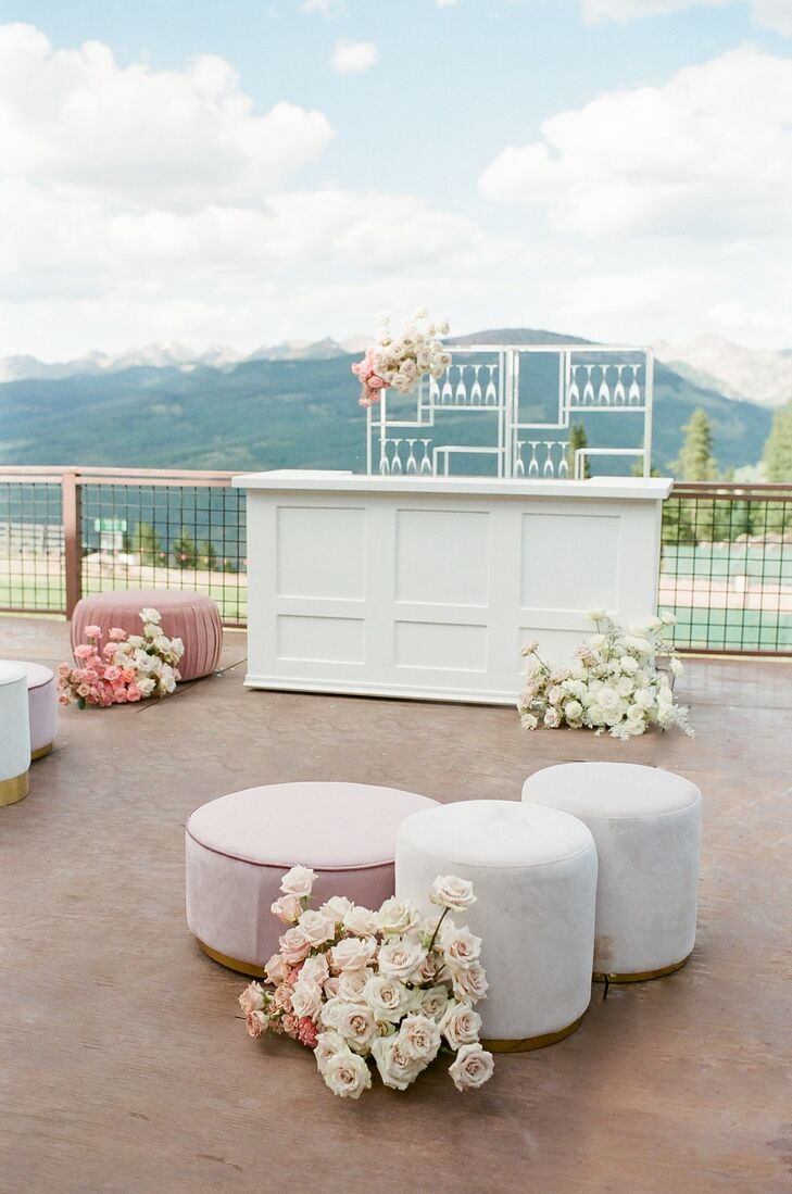 Romantic Lounge Furniture, Flower Arrangements and Bar at The 10th in Vail, Colorado