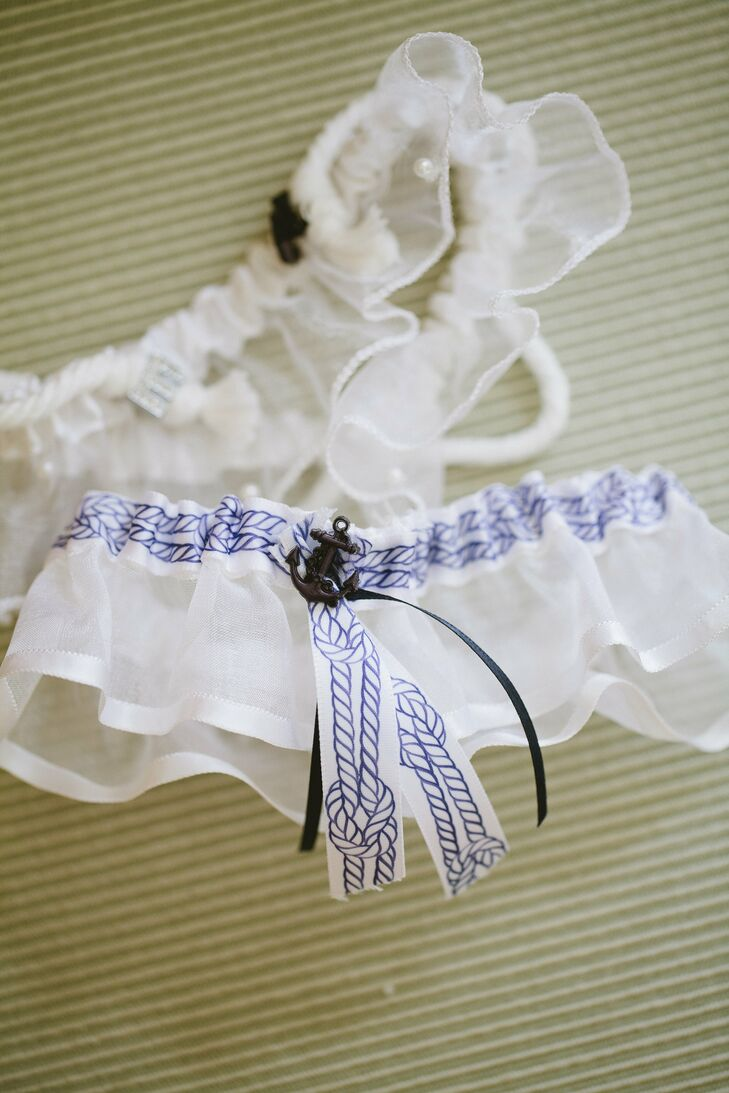 Navy and White Nautical Garter