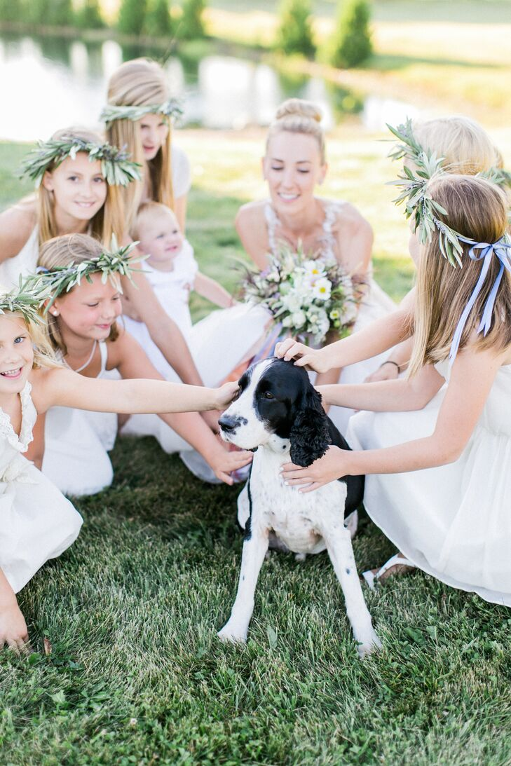 Flower Girls with Eucalyptus Flower Crowns