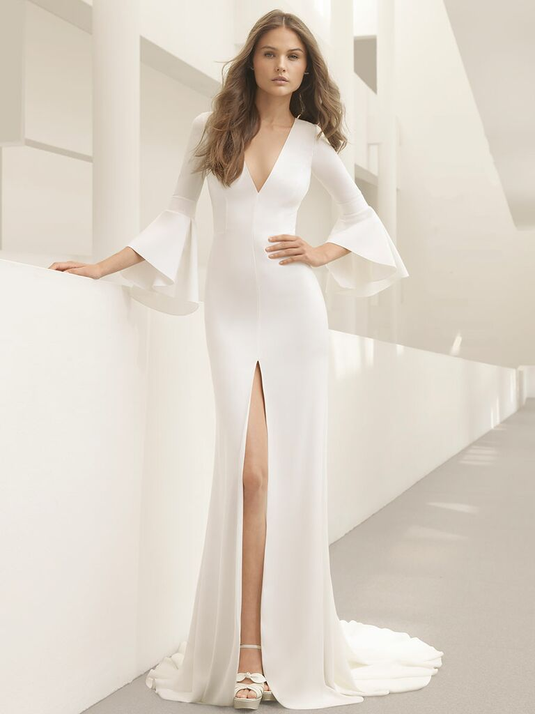 Rosa Clará Fall 2018 wedding dresses sleek gown with bell sleeves high slit and V-neckline