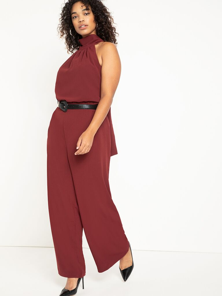 Dark red plus size jumpsuit with high neckline and belted waist
