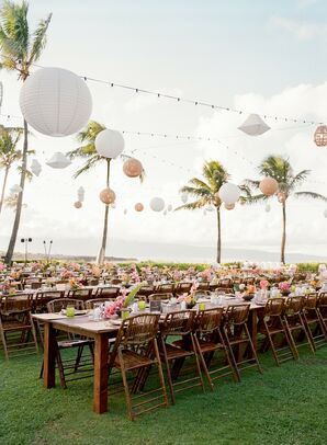 Waterfront Tropical Wedding Reception in Kapalua, Hawaii
