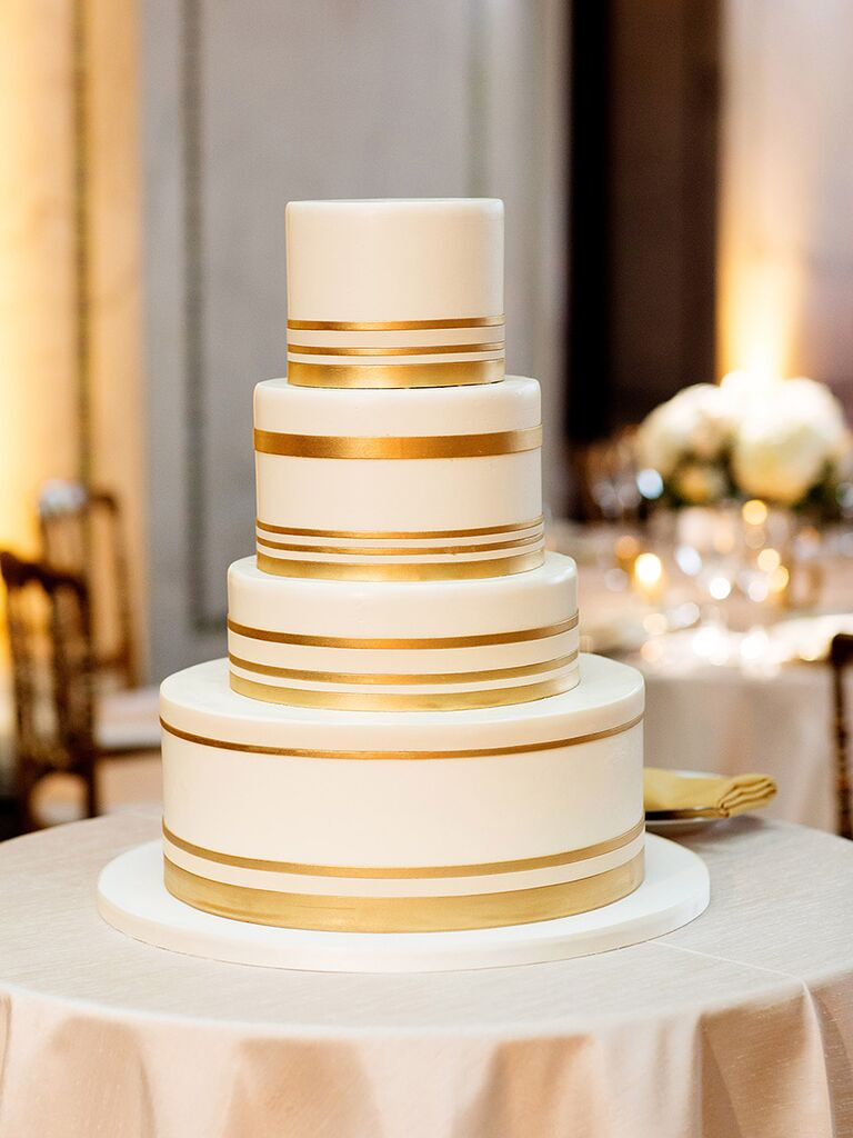 Simple wedding cake with ivory fondant and gold bands