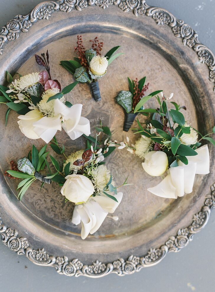 Ivory Florals and Greenery Boutonniere