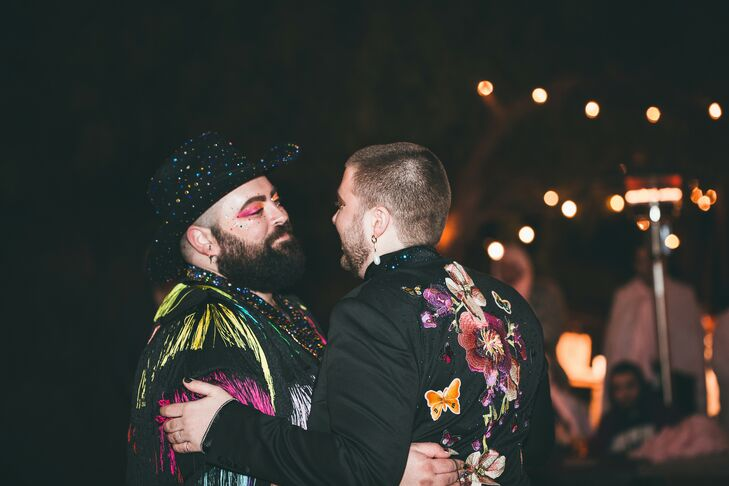 Glamorous Same-Sex First Dance with Colorful Fashion and Makeup