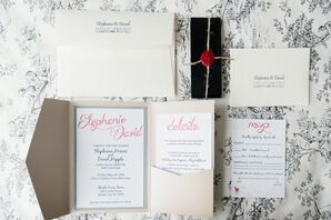 Whimsical Trifold Invitations with Pink Script