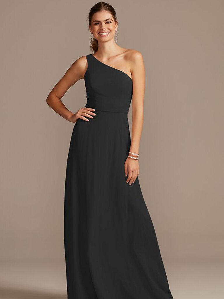 One shoulder black bridesmaid dress under $100