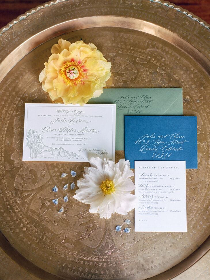 Classic Wedding Invitations and Colorful Calligraphed Envelopes