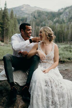 Casual Couple in Rocky Mountain National Park in Colorado