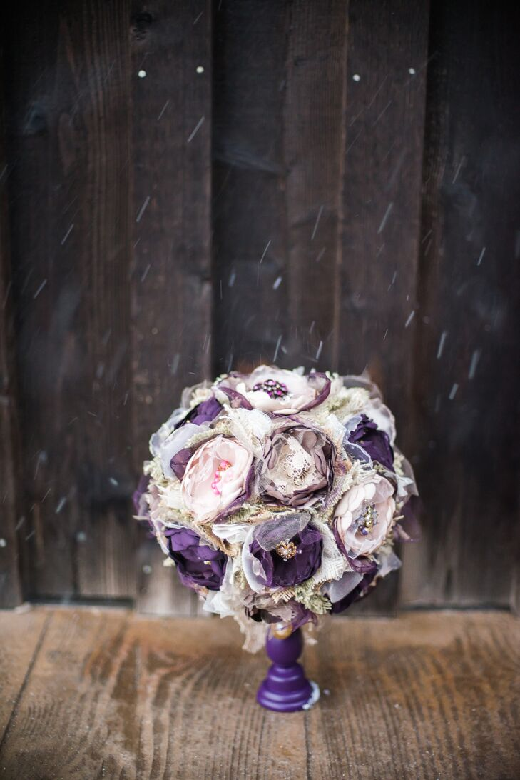Kaley's mother created her fabric flower bouquet with burlap, lace and tulle. The rustic flower and broach centers matched the rustic, vintage theme of the day.