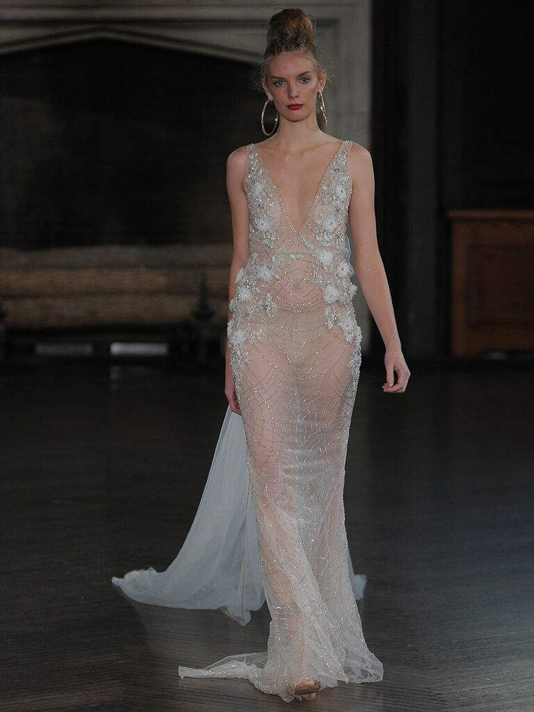 Berta Sheer Wedding Gown With Beading And Fl Details For Fall 2017