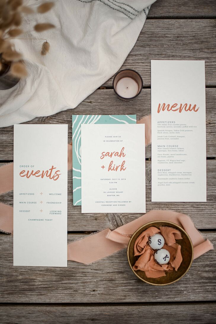 Blue-and-Orange Wedding Invitations for Boston Wedding