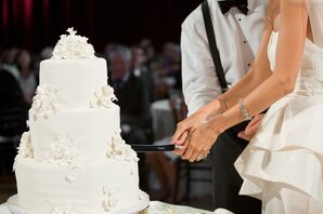 Classic White Fondant Cake With Sugar Flowers