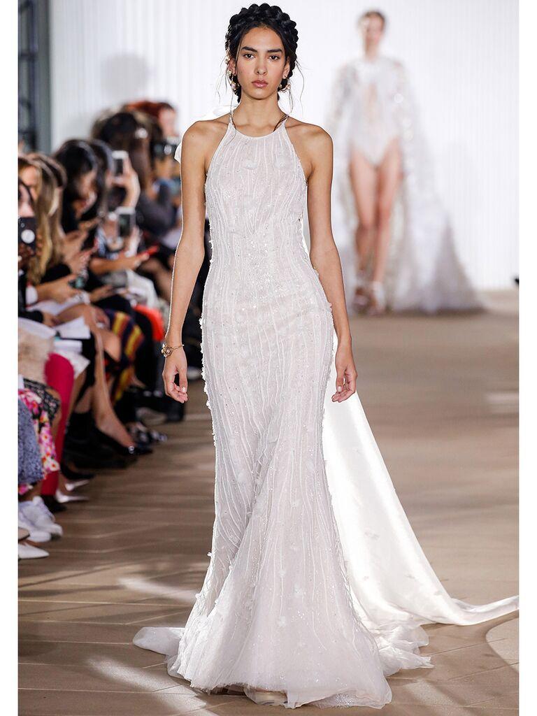 Ines Di Santo wedding dress high-neck beaded trumpet gown