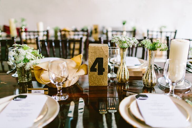 Black and Gold Glitter Table Number