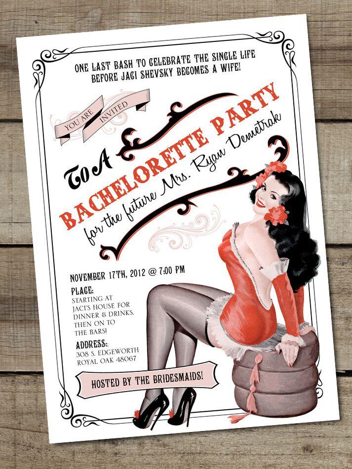 Vintage Pinup Girl themed bachelorette party printable invitation