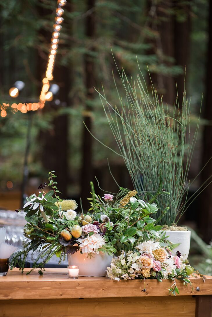 Textured Greenery and Fresh Fruit Floral Arrangement