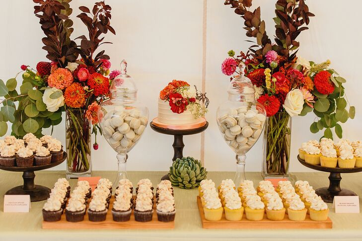 The couple served Mexican-spiced chocolate and blood orange olive oil cupcakes along with pistachio and praline macarons.