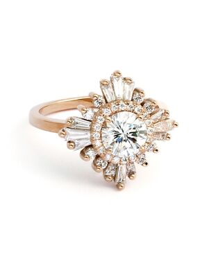 Art Deco Inspired, Custom Ring Designs Round Cut Engagement Ring