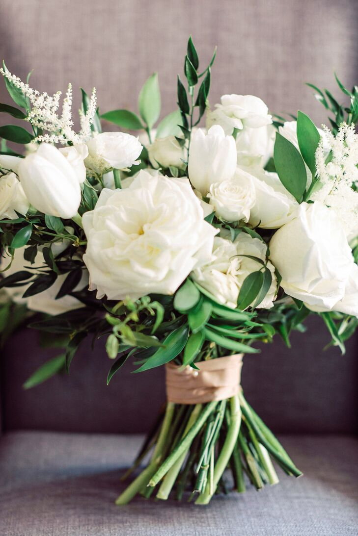 Classic Bouquet of White Roses, Tulips and Astilbe