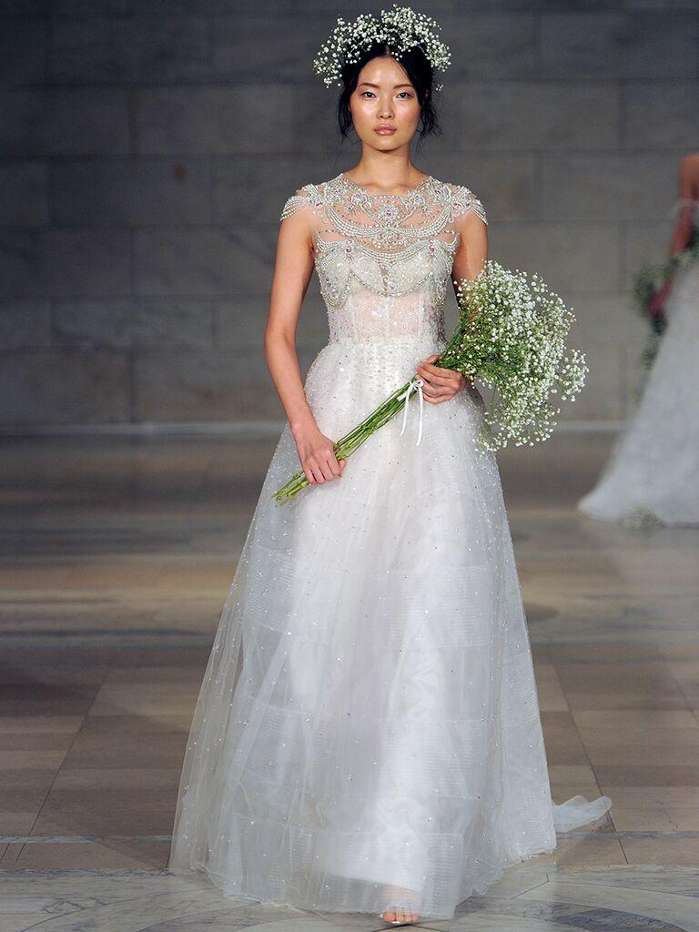 Reem Acra Fall 2018 strapless wedding dress with jewel crusted bolero