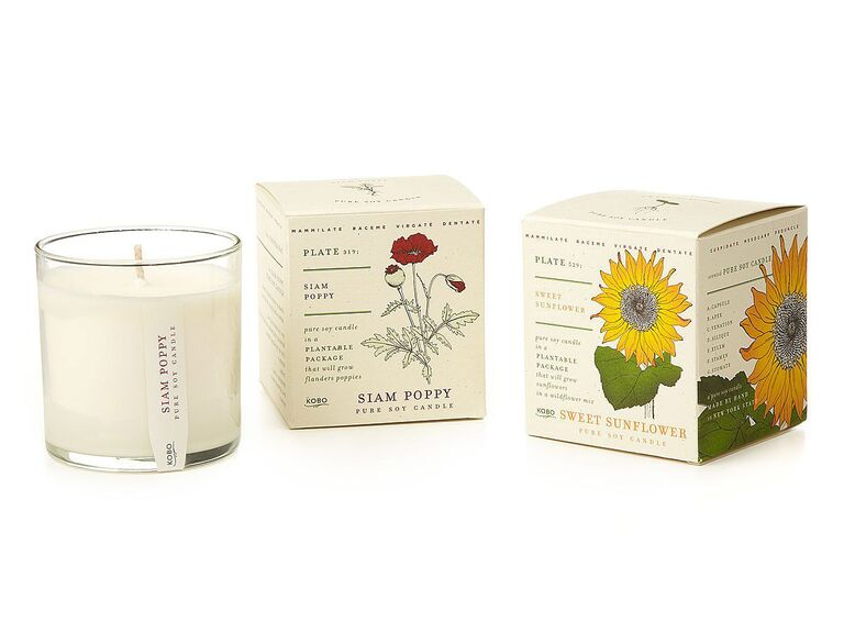 White soy wax candle with plantable seed-infused packaging