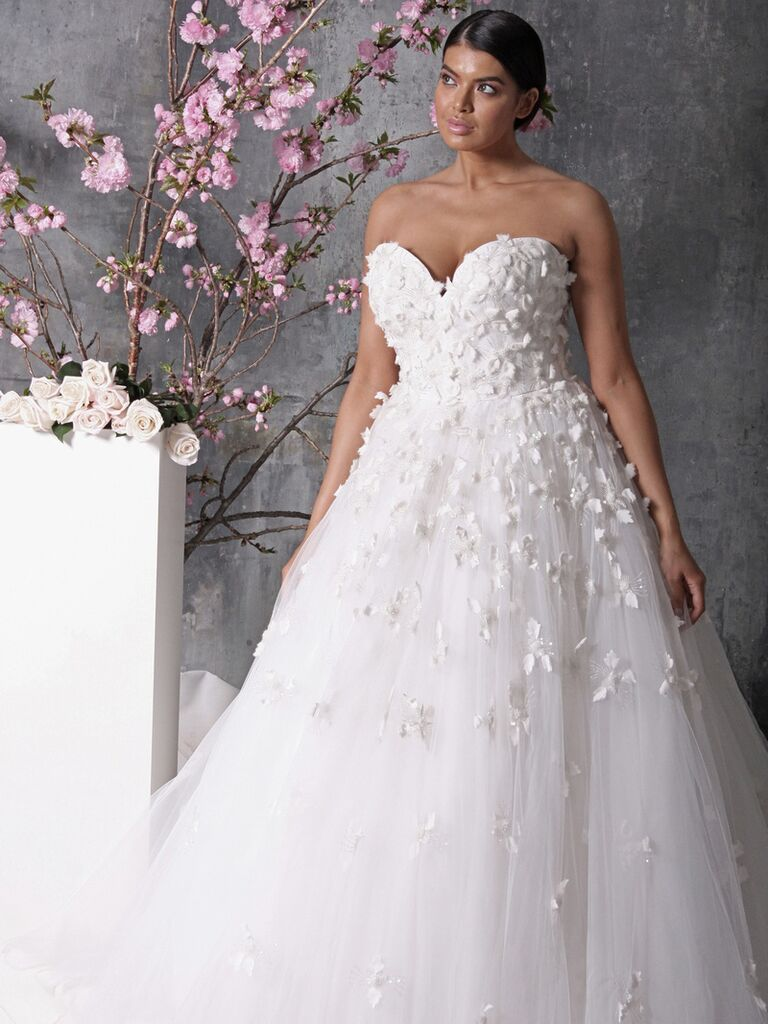 Strapless Floral Plus Size Wedding Dress