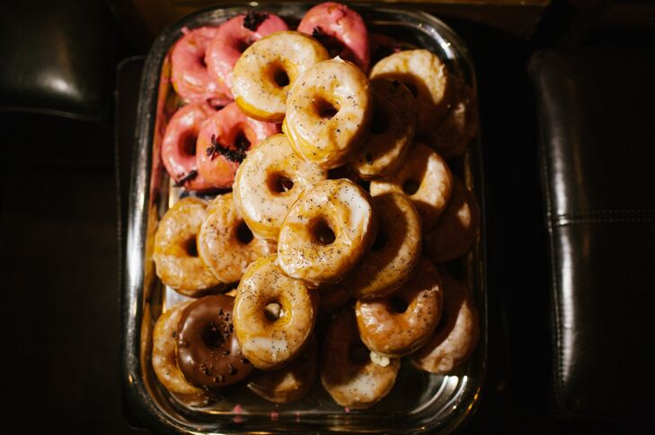 Gourmet donuts were provided to guests as a late-night snack.