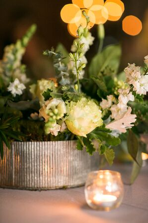 Roses and Stock in Low Metal Vases