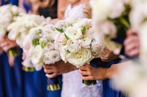 Ivory Ranunculus Bouquet With Blue Satin Wrap
