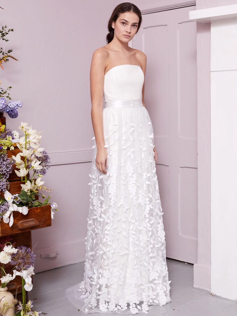 Halfpenny London 2020 Bridal Collection strapless wedding dress with floral appliqué skirt