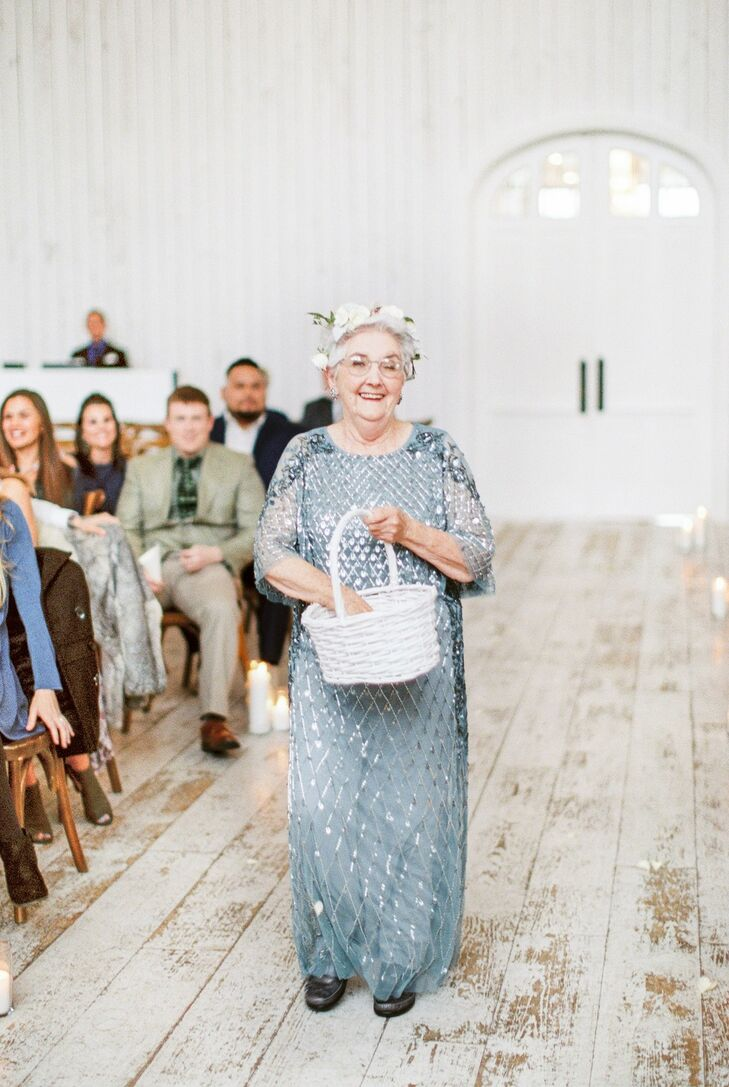 Grandmother Serving as Flower Girl