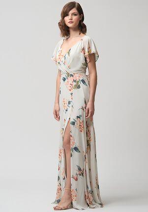 Jenny Yoo Collection (Maids) Alanna Print V-Neck Bridesmaid Dress