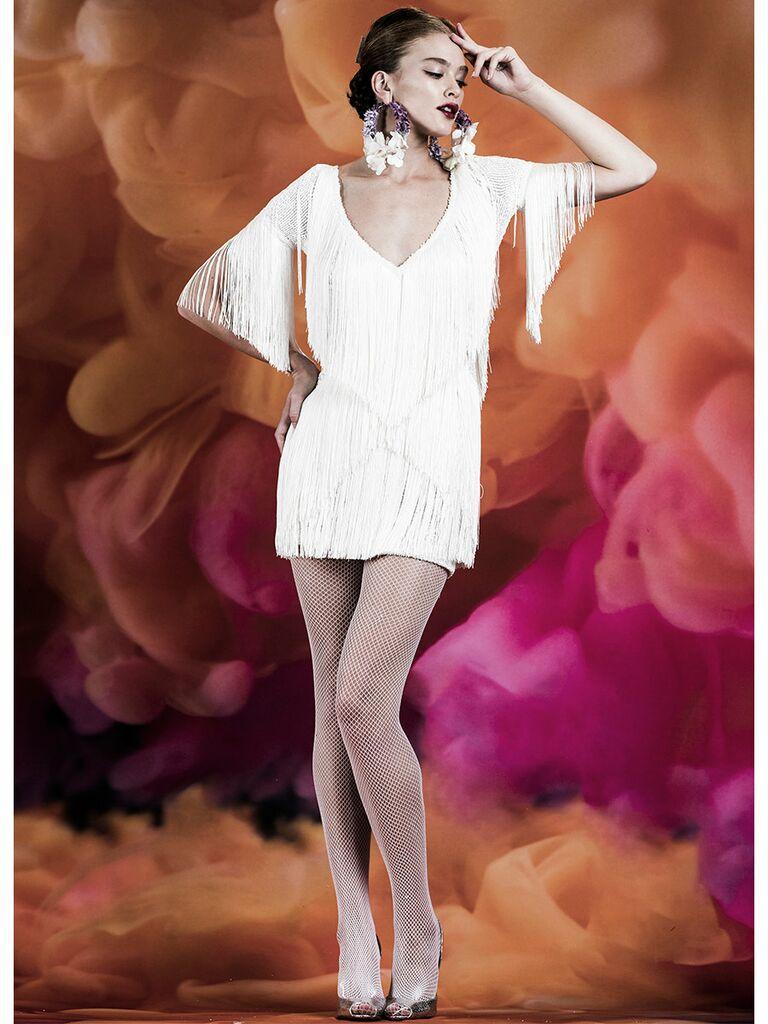 Naeem Khan wedding dress long sleeve mini fringe dress