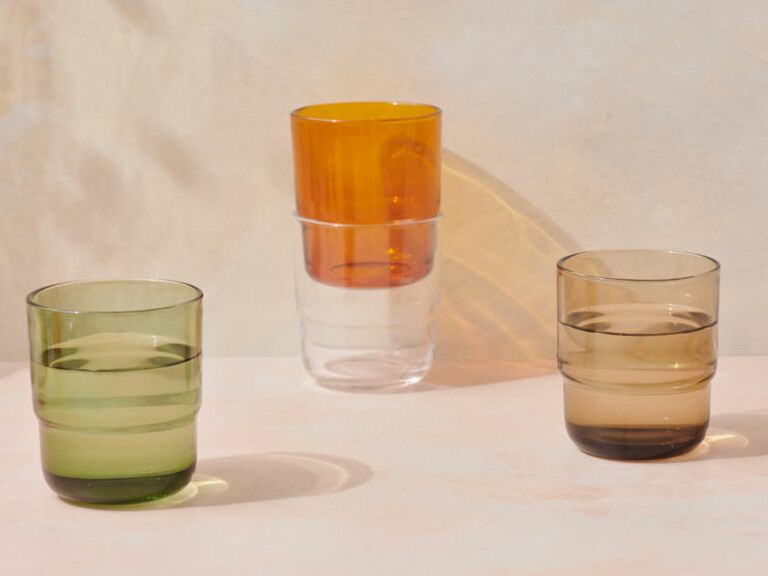 green, orange, brown and clear drinking tumblers