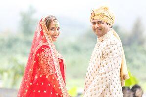 Indian Couple Wearing Traditional Hindu Wedding Attire