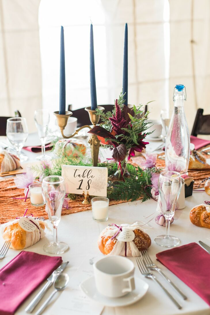 Elegant Tablescape with Colored Taper Candles and Fall Flowers
