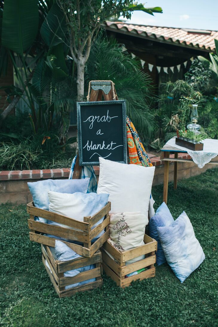 To make sure their guests were comfortable, Rebekah and TJ put out pillows and blankets for them to use during the ceremony.