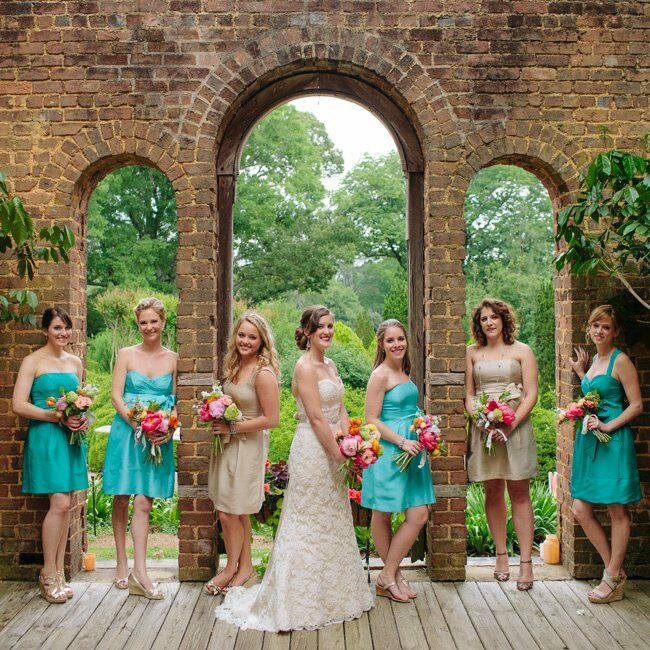 Tan and Turquoise Bridesmaid Dresses