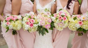 Pink Garden Rose and Ivory Hydrangea Bouquets