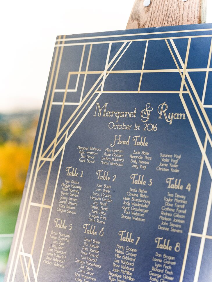 Guests located their names on a deep blue sign, which took subtle design cues from lodge blueprints.