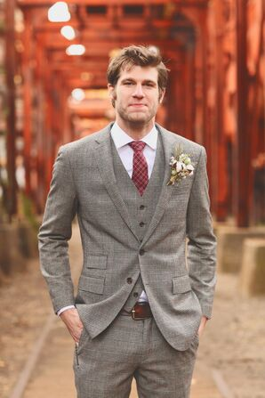 Glen Plaid Three-Piece Groom's Suit
