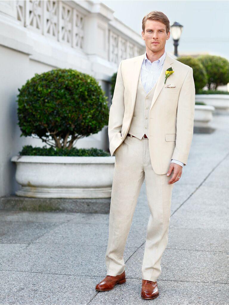 Calvin Klein Tan Linen Suit Separates at Men's Wearhouse