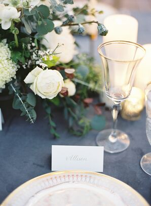 Grey Tablecloth and Placesetting